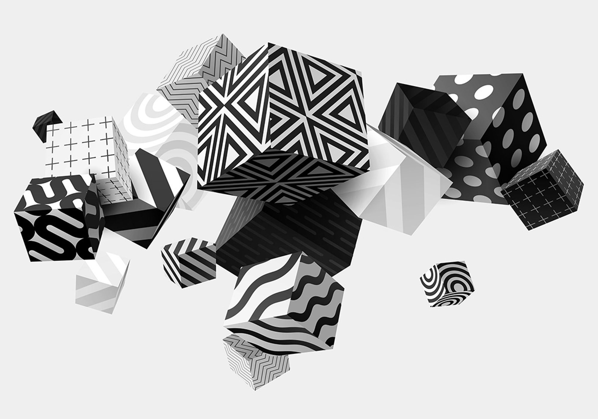Details About 312x219cm Wall Mural Photo Wallpaper 3D Perspective Black & White Cubes Glue